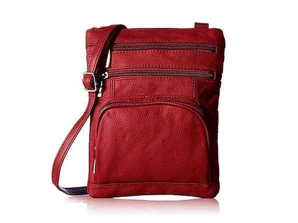 Ultra-Soft Leather Crossbody Bag - Red - Product Image