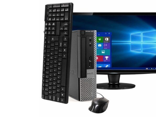 "Dell OptiPlex 7010 Small Form Factor PC, 3.2GHz Intel i5 Quad Core Gen 3, 4GB RAM, 120GB SSD, Windows 10 Professional 64 bit, 22"" Widescreen Screen (Renewed)"