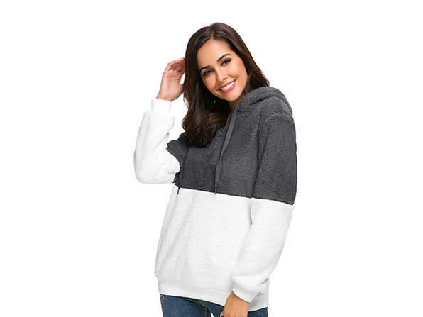 Plush Color Block Pullover Hoodie (Dark Grey/XL)