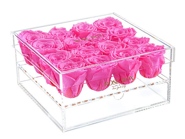 Premium16 Neon Pink Roses Jewelry Box - Product Image