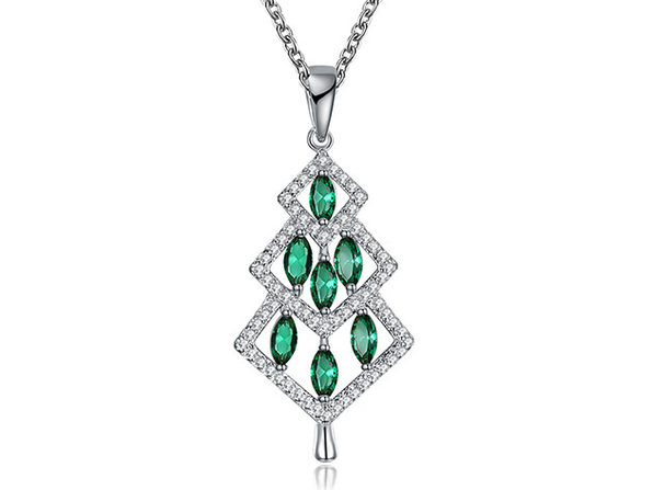 14K White Gold Christmas Tree Necklace with Pear-Cut Green Swarovski