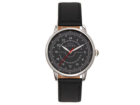 Elevon Gauge Leather Band Watch (Silver/Black)