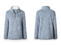 Half Zip Furry Pullover- Blue Small - Product Image