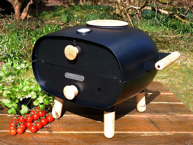 A portable pizza oven