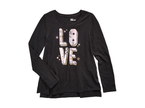 Epic Threads Big Girls Love T-Shirt Black Size Medium
