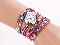 Jeweled Leather Bracelet Watch - Red - Product Image