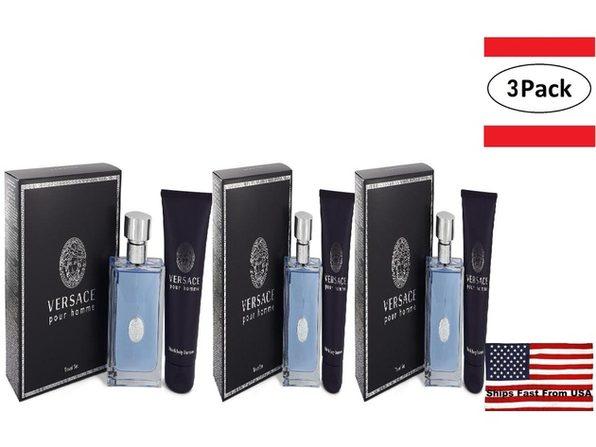 3 Pack Versace Pour Homme by Versace Gift Set -- 3.4 oz Eau De Toilette Spray + 3.4 oz Shower Gel for Men - Product Image