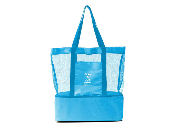 Beach Bag with Insulated Cooler (Blue)