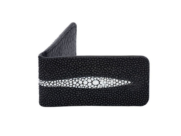 Andre Giroud Exotic Stingray Money Clip (Large/Black)
