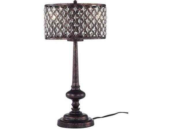 Warehouse of Tiffany IMT483/3 Alina 3-Light Table Lamp, Antique Bronze Black (Distressed Box)