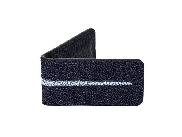 Andre Giroud Exotic Stingray Money Clip (Large/Navy Blue)