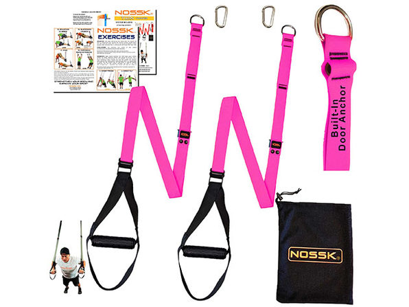 NOSSK TWIN PRO Suspension Fitness Strap Trainer (Pink)