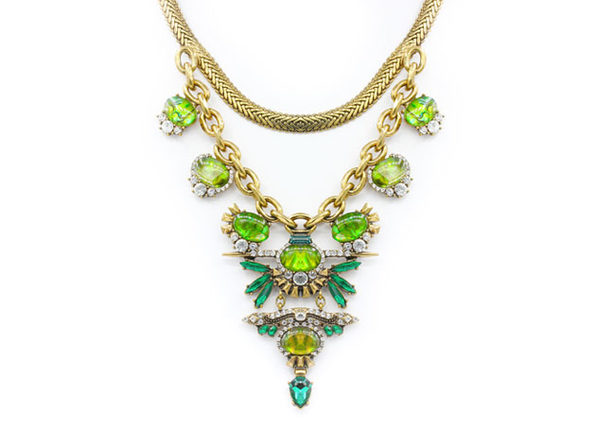 "Emerald & Chartreuse Statement Necklace By ""The Countess"" Luann de Lesseps"