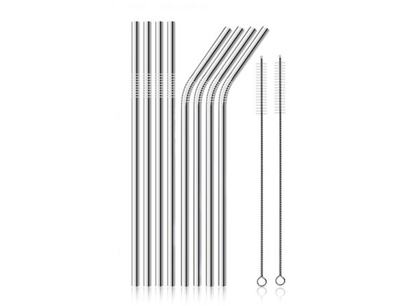 Stainless Steel Straws: 8-Pack (Silver)