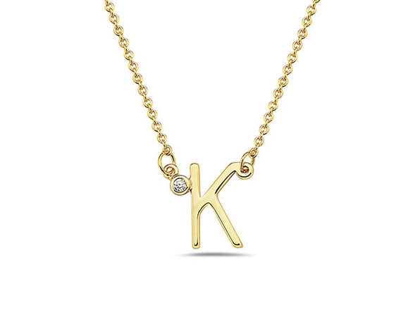 18K Gold Plated CZ Initial Necklaces - K - Product Image