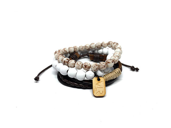 White & Brown Leather Bracelets: 3-Pack