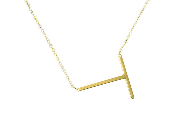 14K Gold Plated Letter Necklace - T - Product Image
