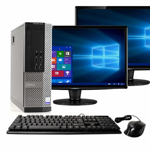 "Dell OptiPlex 7020 Desktop PC, 3.2GHz Intel i5 Dual Core Gen 4, 16GB RAM, 2TB SATA HD, Windows 10 Home 64 bit, Dual (2) 22"" Screens Screen (Renewed)"