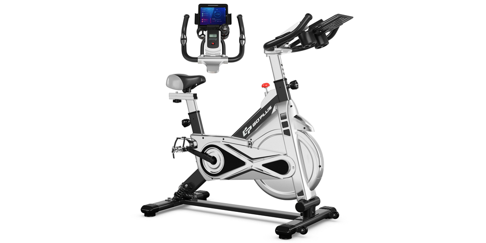 A silver and black exercise bike