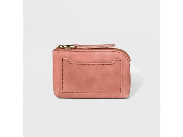 Universal Thread Genuine Leather Small Pouch Clutch With Exterior Slip Pocket, Blush