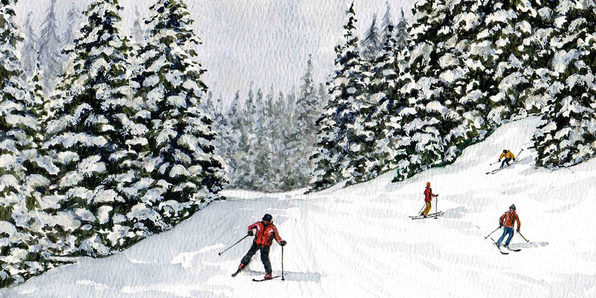 How to Paint a Skiing Landscape with Watercolor - Product Image