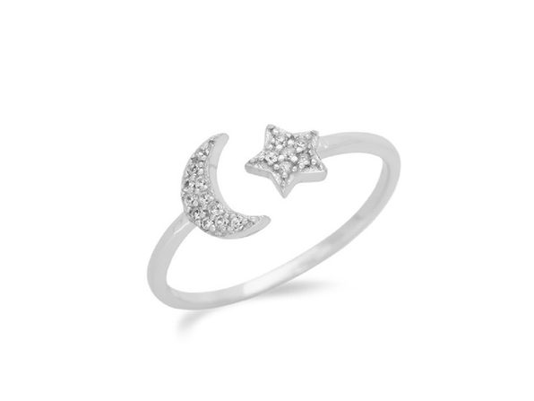 Homvare Women's 925 Sterling Silver Moon Star Ring - Silver