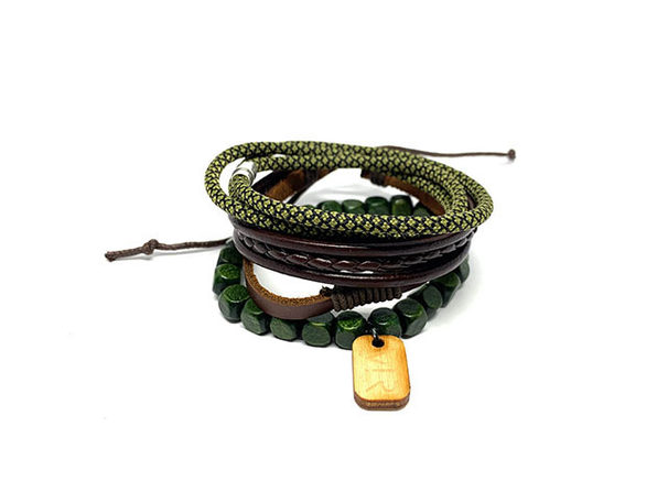 Olive & Brown Sly Bracelets: 3-Pack