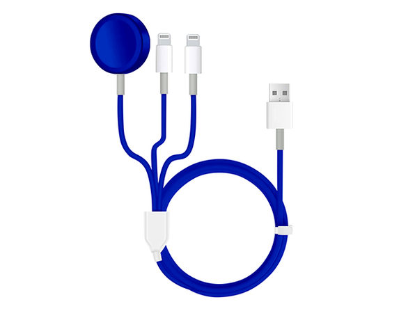 3-in-1 Apple Watch & Lightning Charger Blue - Product Image
