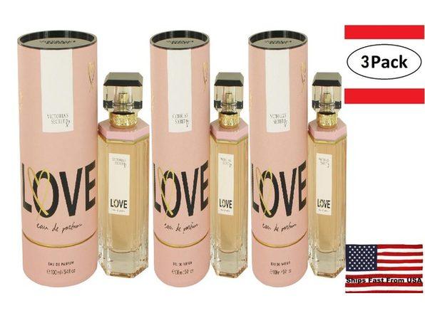 3 Pack Victoria's Secret Love by Victoria's Secret Eau De Parfum Spray 3.4 oz for Women