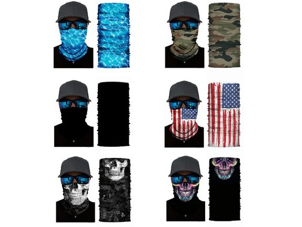 Face Covering Mask Neck Gaiter with Dust UV Protection - Elastic and Microfiber Tube Neck Warmer- Pack of 4 - US Flag