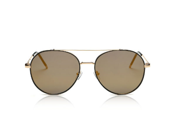 Mavis Classic Mirrored Aviator Sunglasses (Brown)