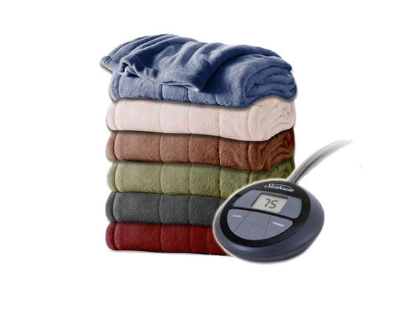 Sunbeam Channeled Velvet Plush Electric Heated Blanket K016 Twin Full Queen King - Garnet