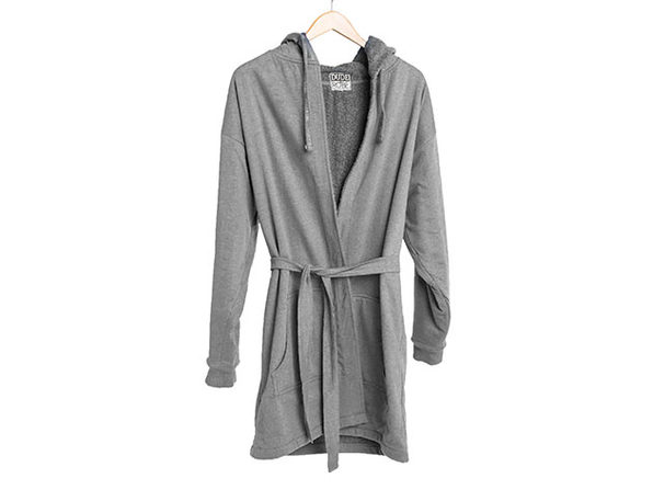 DudeRobe: Luxury Men's Hooded Bathrobe (Gray, S/M)