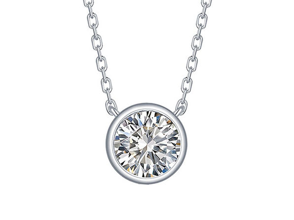 Essentials 0.50CT Lab-Grown Diamond Solitaire Bezel Necklace in 10K White Gold