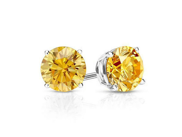 """0.28"""" Birthstone Stud Earrings Made with Swarovski Crystals (Yellow Citrine)"""