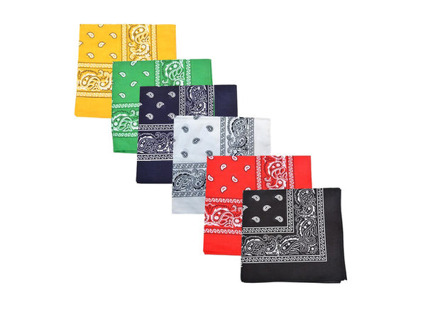 Pack of 12 Paisley Cotton Bandanas Novelty Headwraps - Dozen Available in Many Colors - 22 inches - White