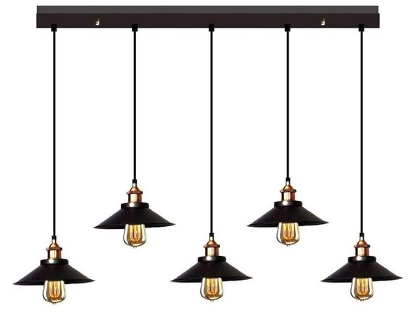 HomeRoots LD4055 Whse Tiffany Ld-4055 Hollie Adjustable Cord 5 Light Edison Lamp (Distressed Box) - Product Image
