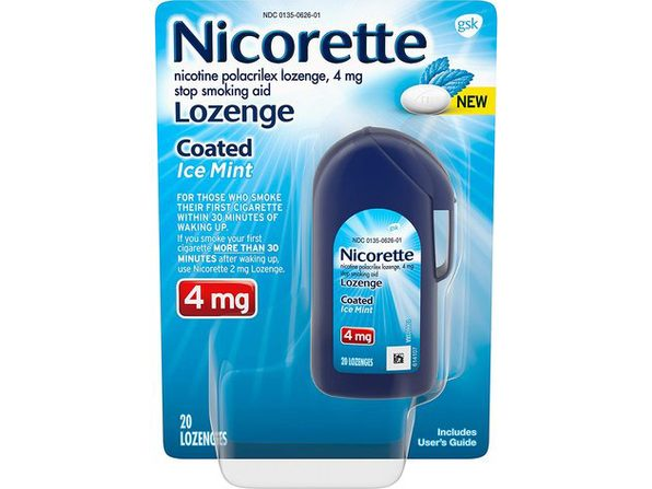 Nicorette Coated Nicotine Lozenge Stop Smoking Aid, Features a Smooth Coated Shell and a Delicious Mint Flavor Tablet, Ice Mint, 20 Count - Product Image