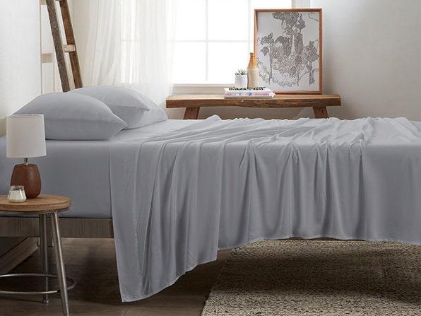 4-Piece Luxury 100% Rayon Bamboo Sheet Set // Light Gray (King)