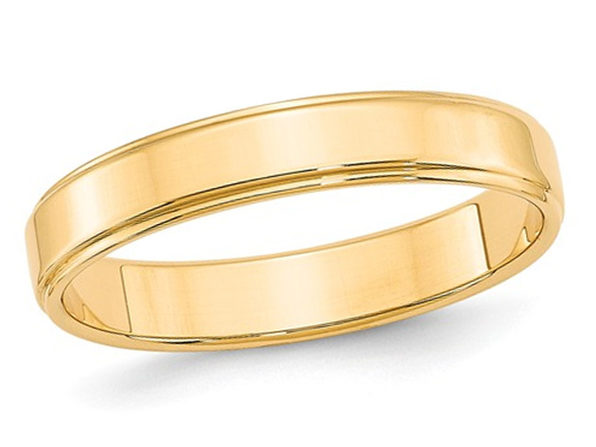 Ladies 14K Yellow Gold 4mm Flat Wedding Band with Step Edge - 6