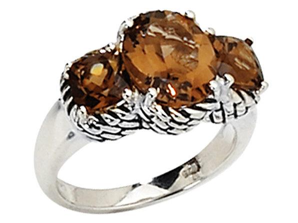 Smokey Quartz Gemstone Three Stone Ring 4.50Carat (ctw) in Sterling Silver