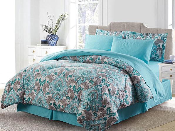 Bibb Home 8-Piece Down Alternative Comforter Set (Chelsea/King)