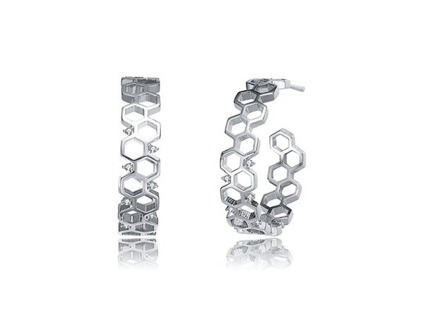 Geometric Hoop 14K Earrings (Platinum)