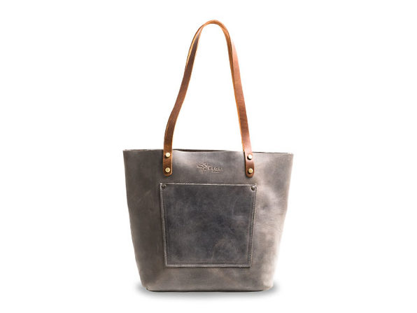 LaSalle Rustic Leather Tote (Mini with Outside Pocket)