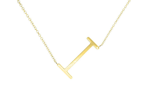 14K Gold Plated Letter Necklace - I - Product Image