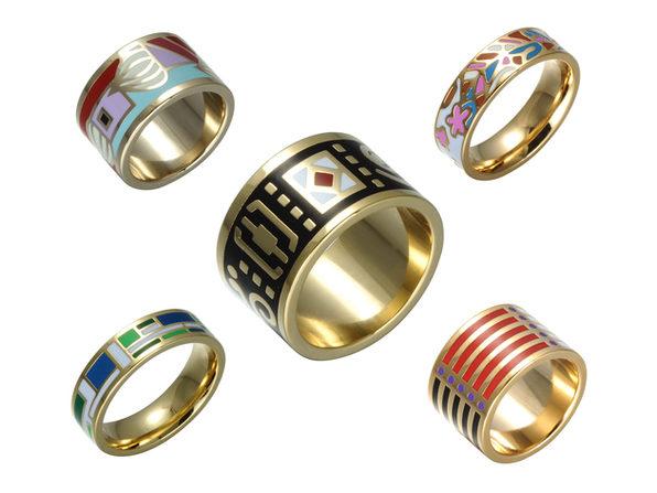 Homvare Women's Gold Plated Handmade Enamel Ring Size 8 - Blue