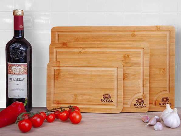 Bamboo Butcher Blocks with Juice Groove & Side Handles: Set of 3