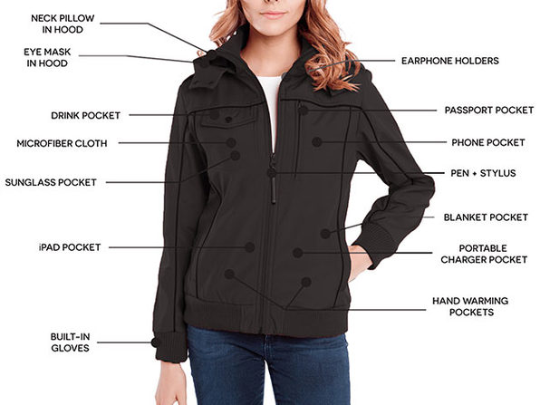 BauBax Women's Bomber Jacket (Black/Medium)