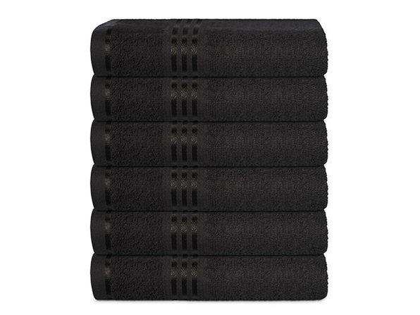 Hurbane Home 6 Piece Hand Towel Set Black - Product Image