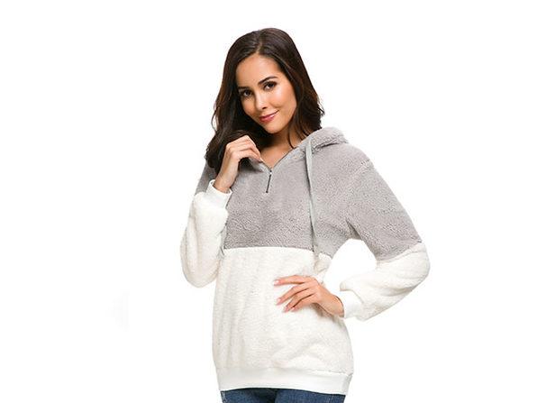 Plush Color Block Pullover Hoodie (Light Grey/Medium)